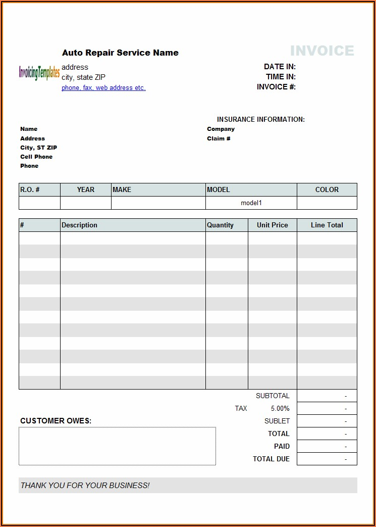 Auto Repair Shop Invoice Template Pdf