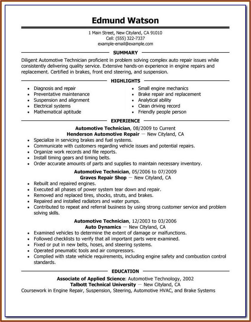Automotive Service Checklist Template