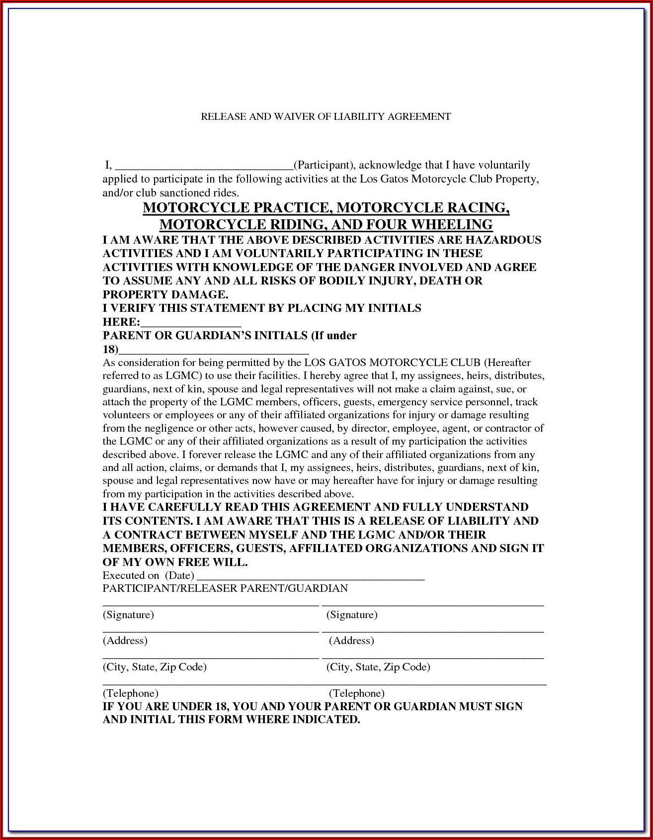 Bike Ride Waiver Form