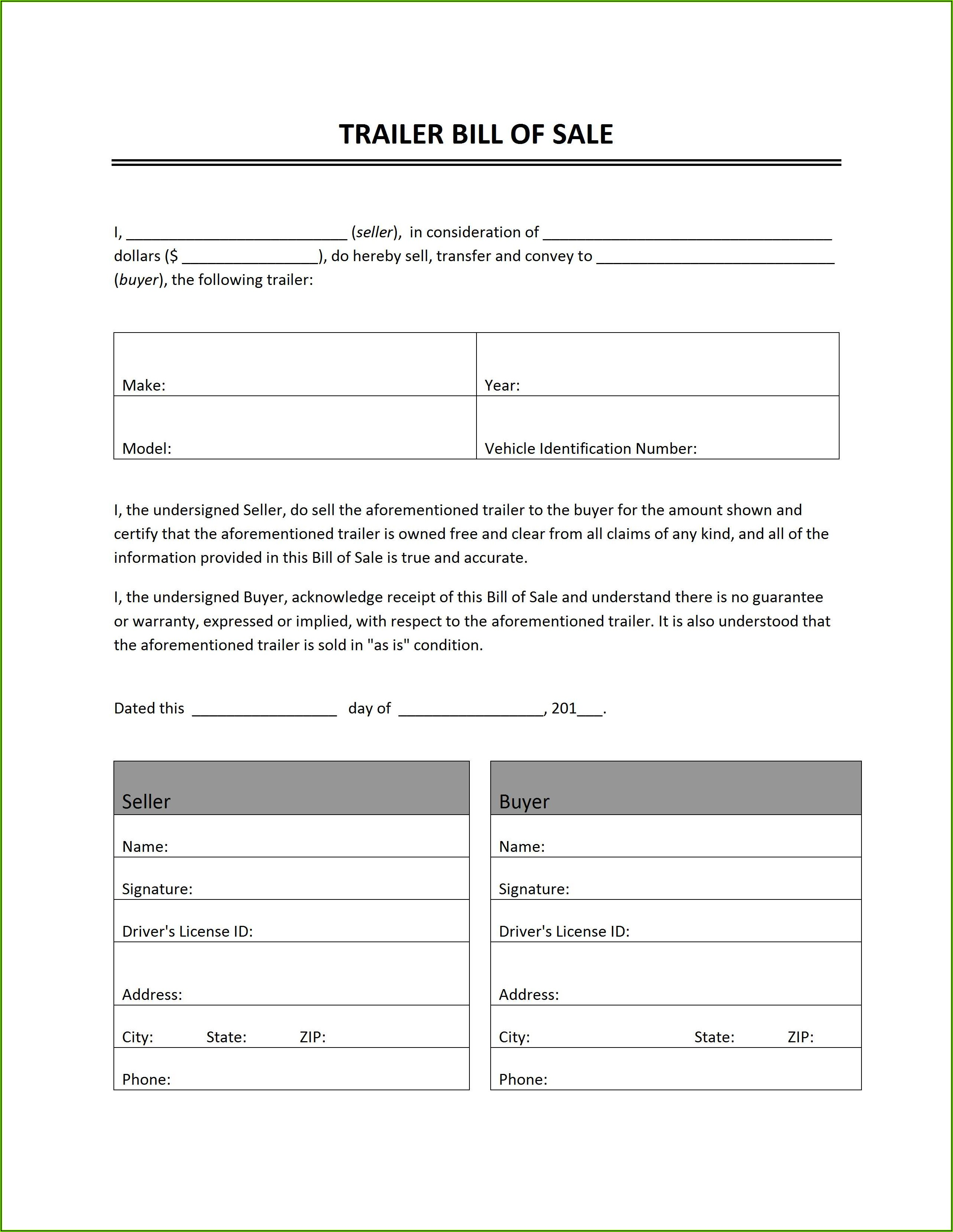Bill Of Sale Form For Motorhome