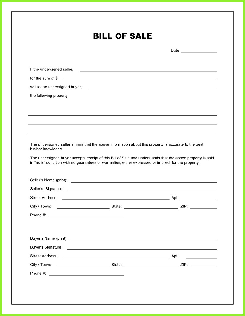 Bill Of Sale Form For Rv Trailer