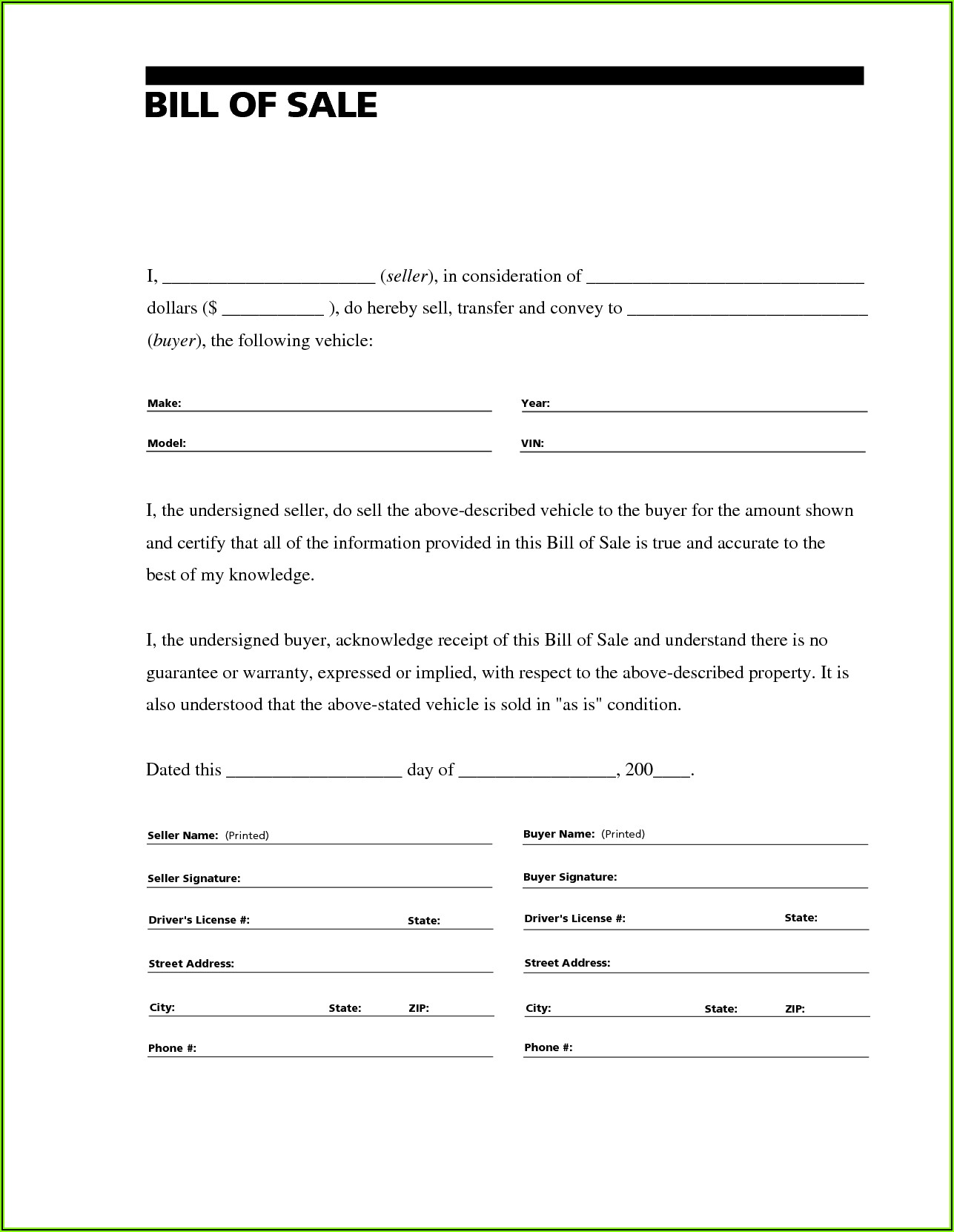 Bill Of Sale Form For Rv