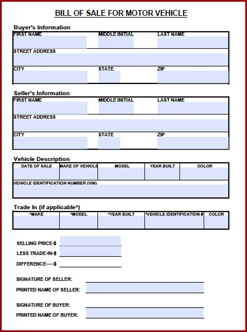 Bill Of Sale Form Tn Motorcycle