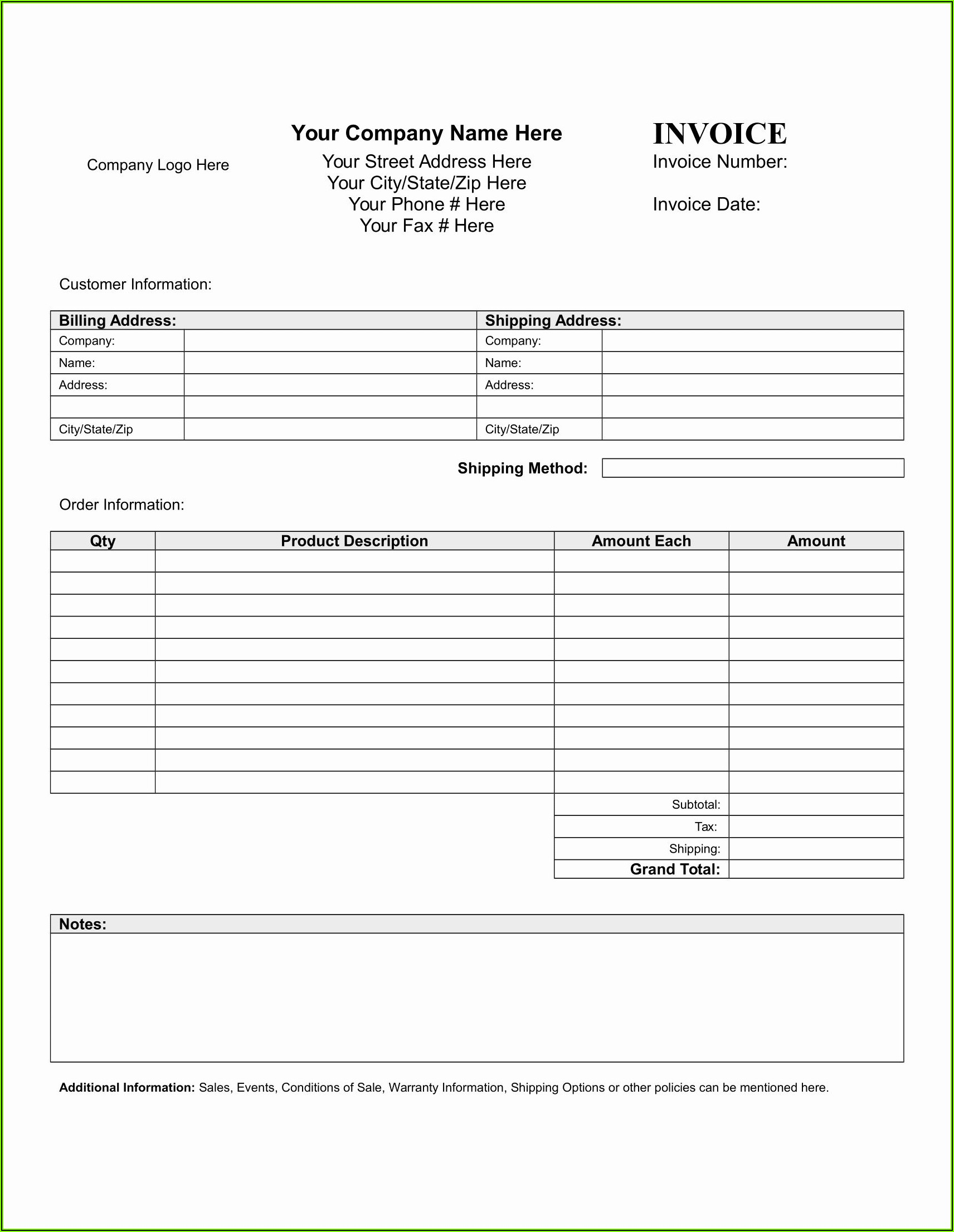 Blank Business Invoice Forms