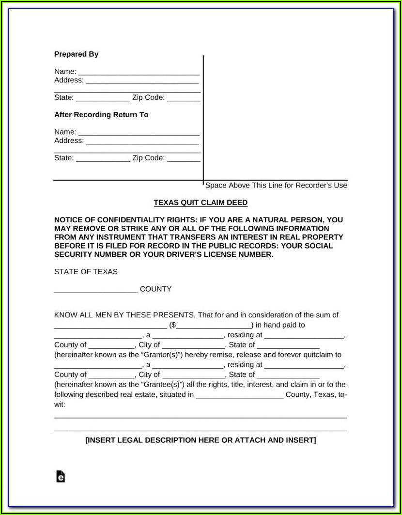 Blank Quit Claim Deed Form Arkansas
