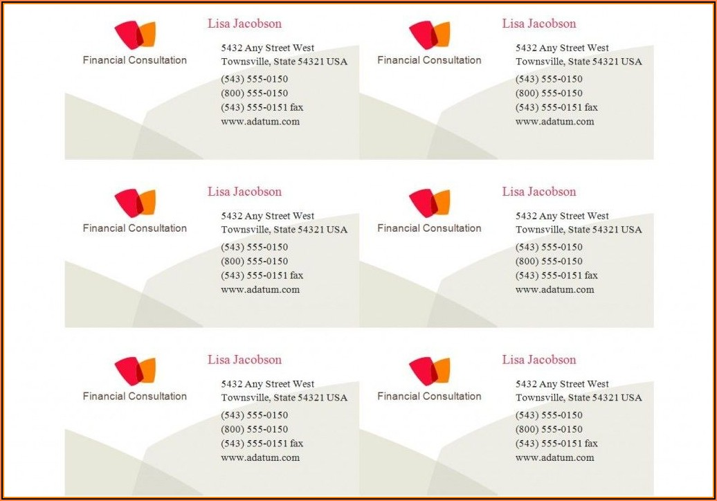 Business Card Template Avery 5371