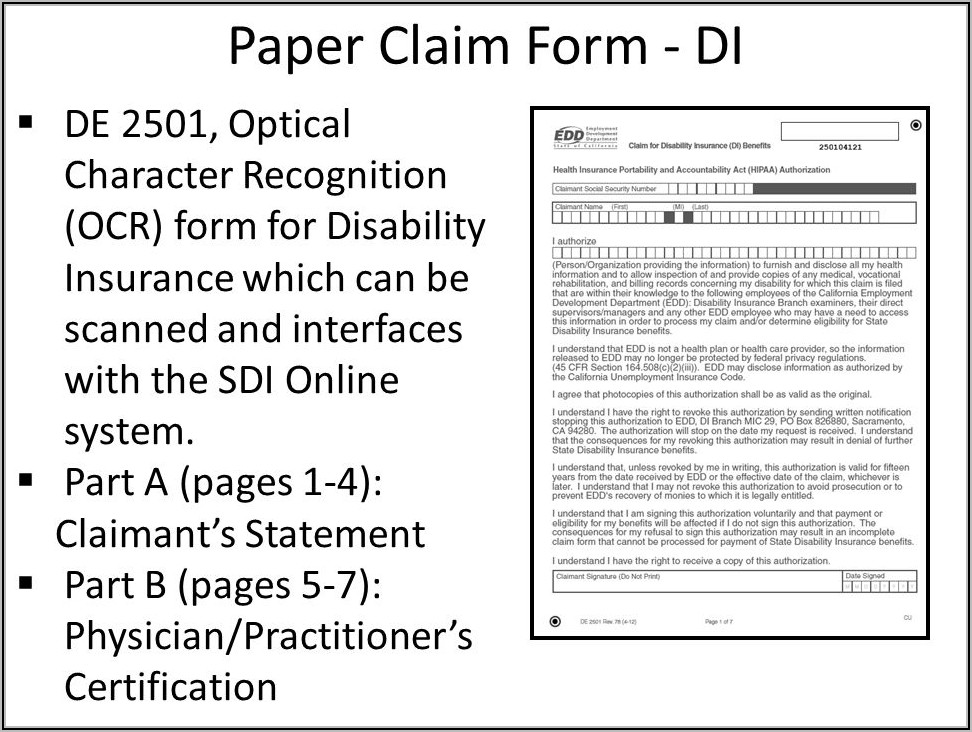 California State Disability Claim Form De 2501