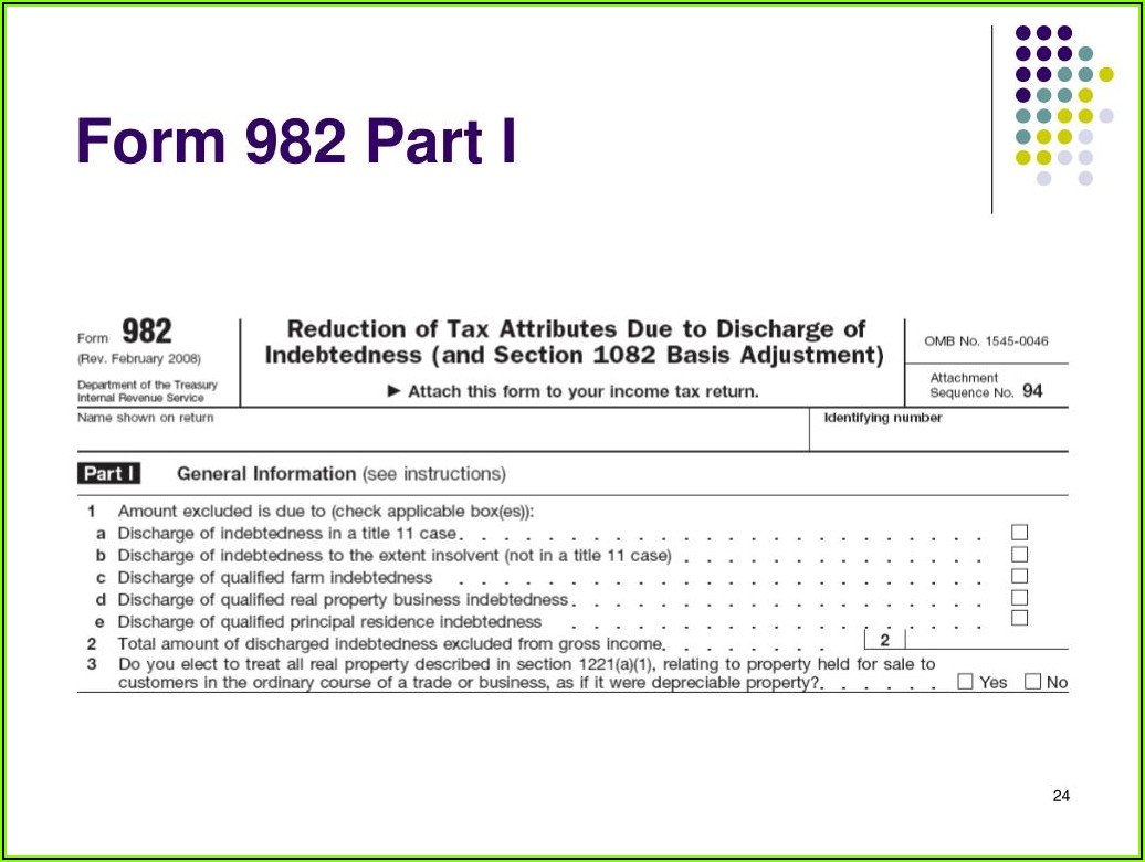 Cancellation Of Debt Form 982 Instructions