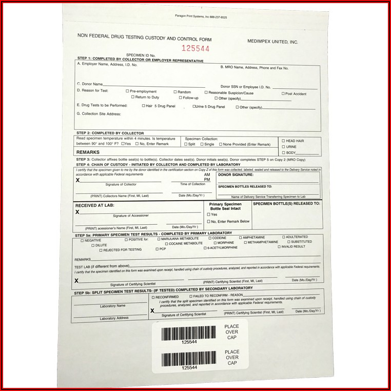 Chain Of Custody Form Drug Test Template