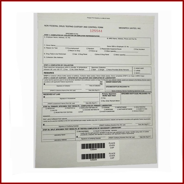 Chain Of Custody Form For Drug Testing