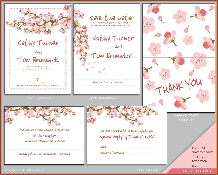Cherry Blossom Wedding Invitation Templates Free