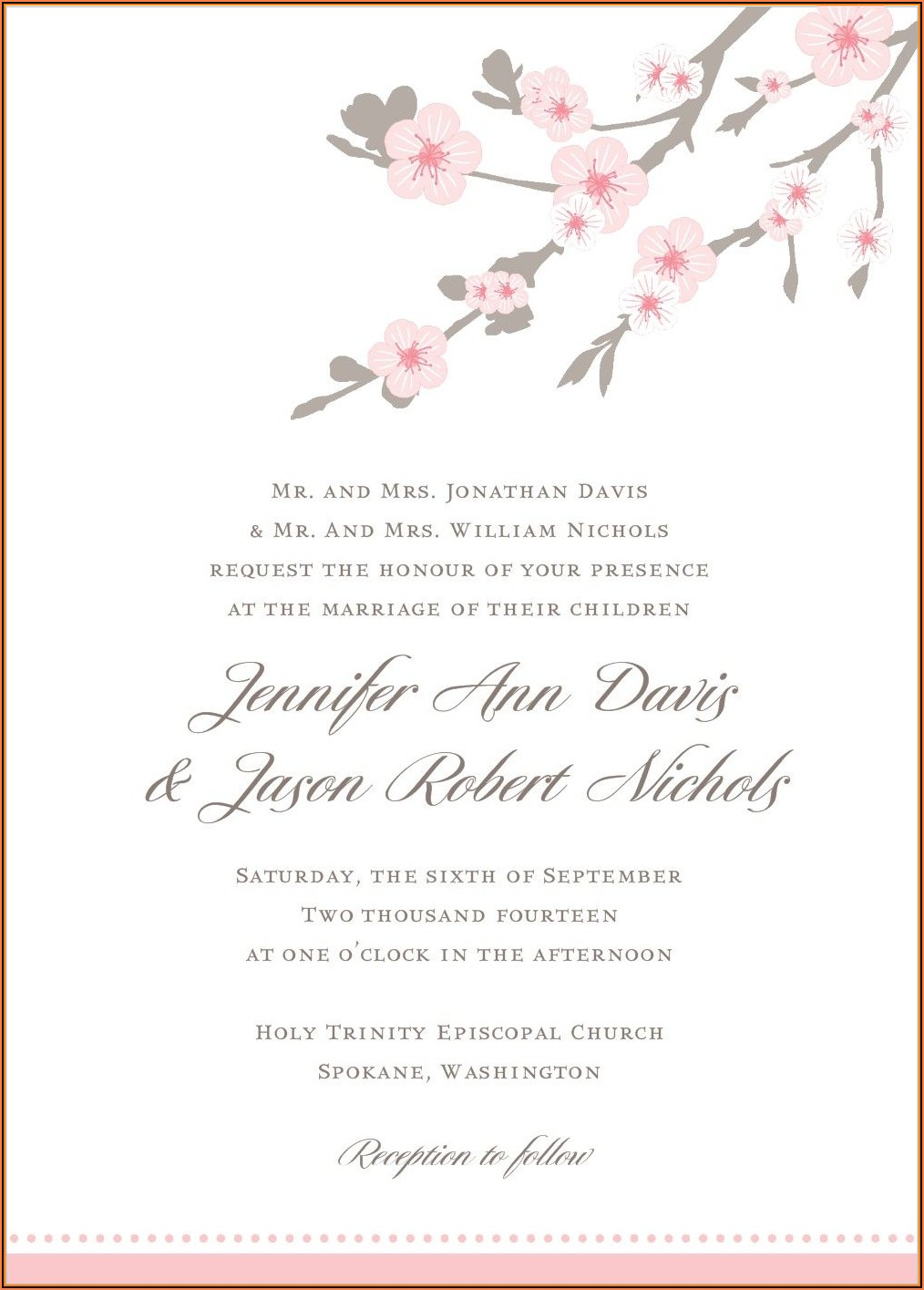 Cherry Blossom Wedding Invitations Templates Free
