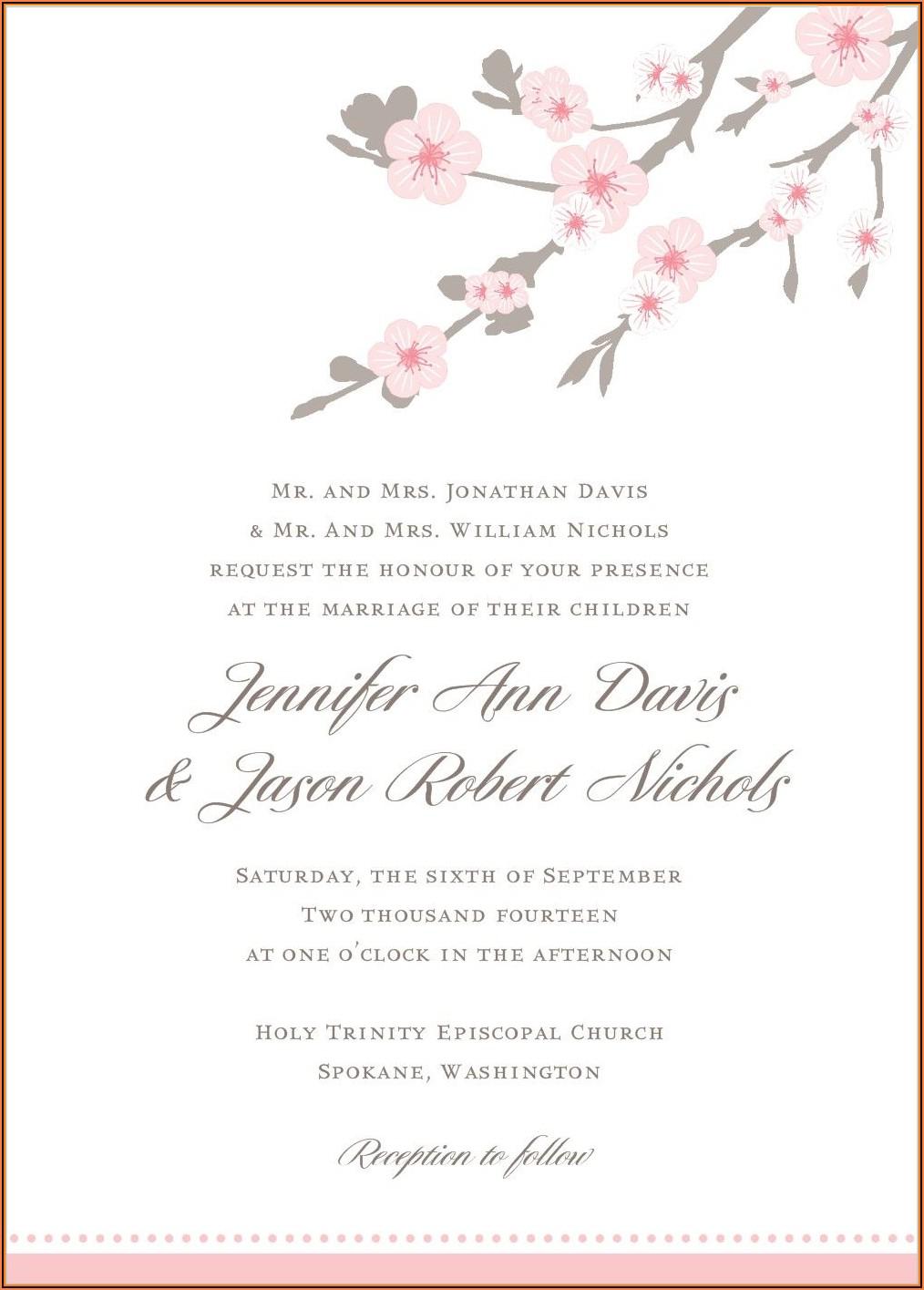 Cherry Blossom Wedding Invitations Templates Free