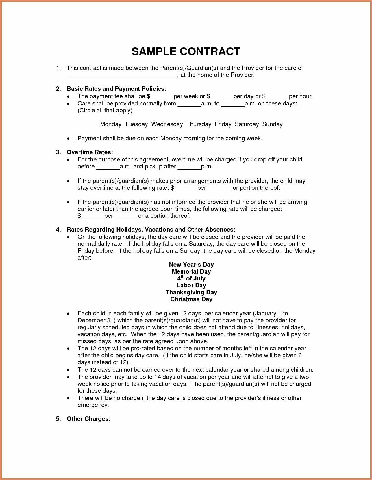 Child Care Contract Format