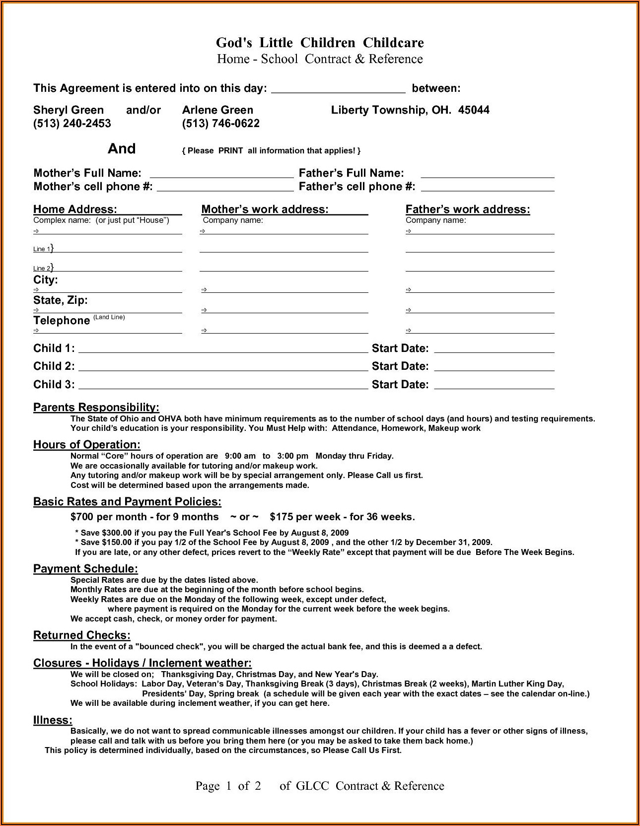 Child Care Contract Forms