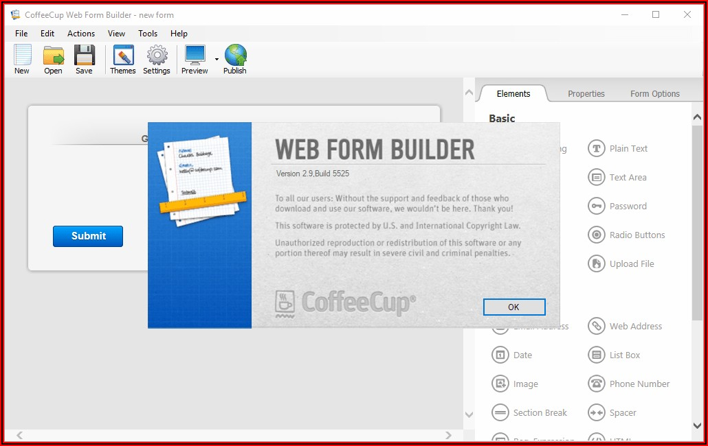 Coffeecup Web Form Builder 2.9 Build 5525