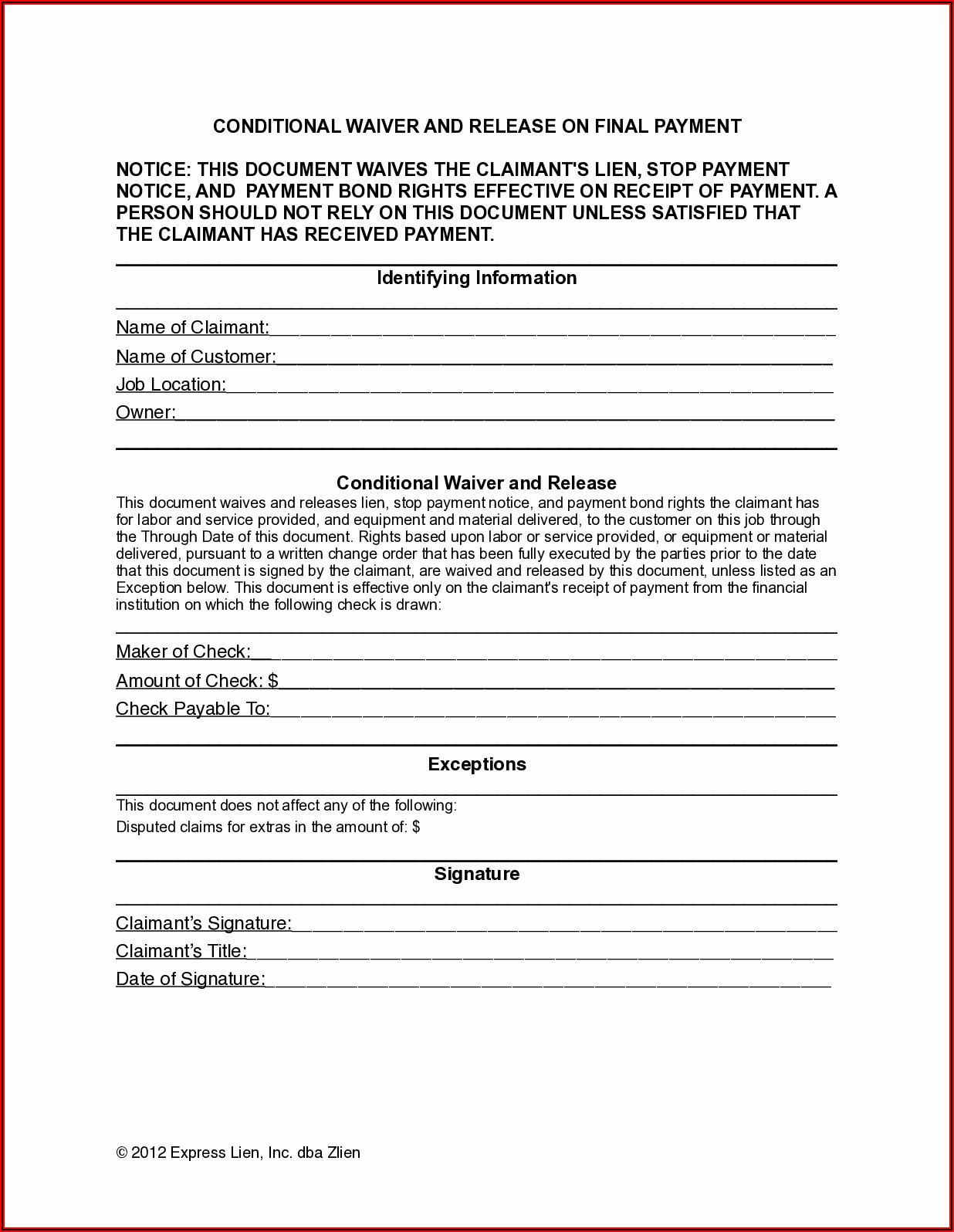 Colorado Workers Compensation Waiver Form