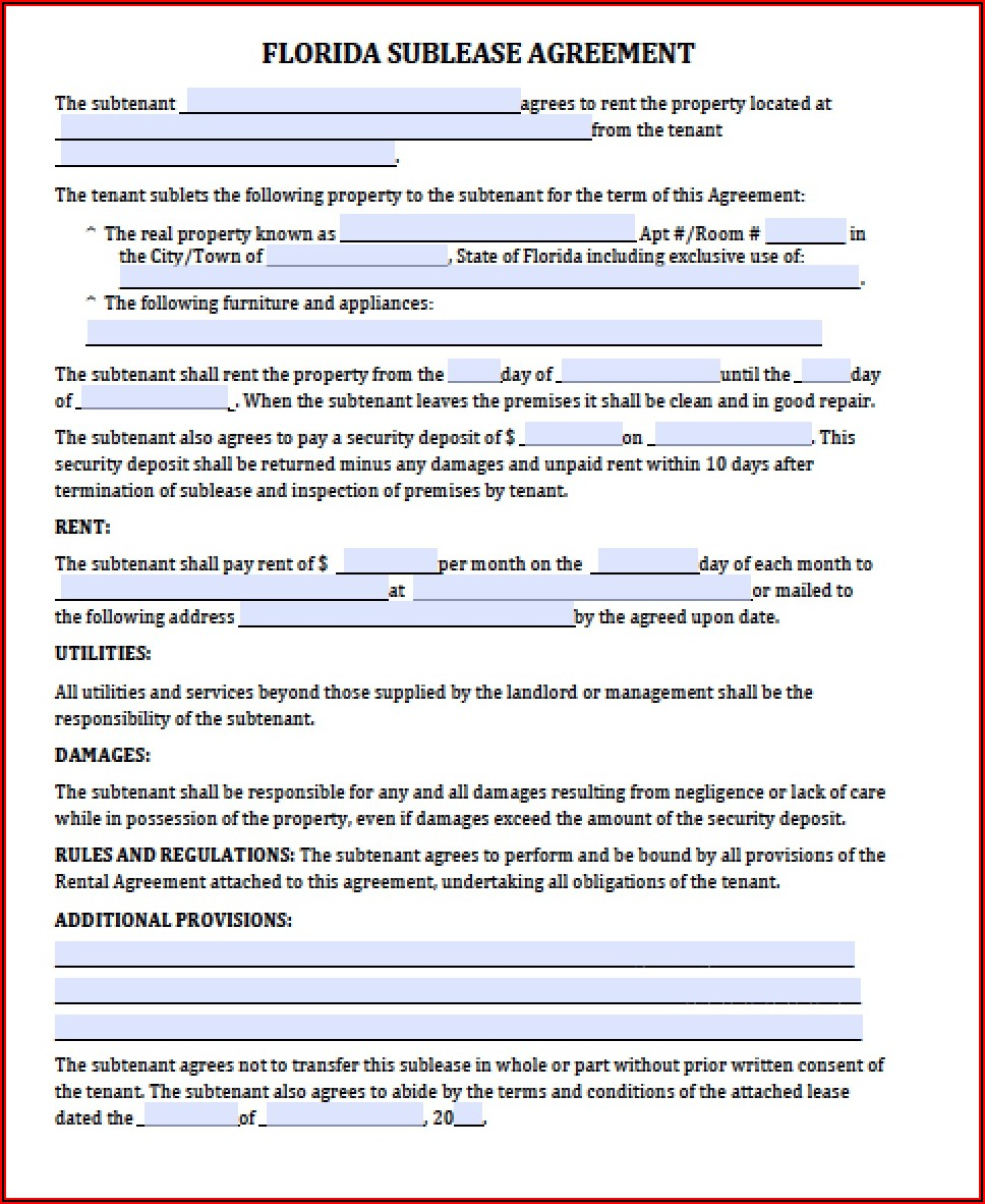 Commercial Lease Agreement Form Florida