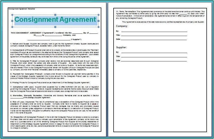Consignment Contract Template Free