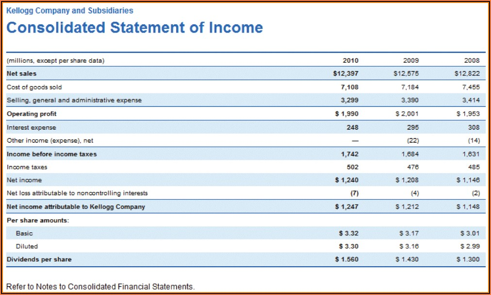 Consolidated Financial Statement Format Excel