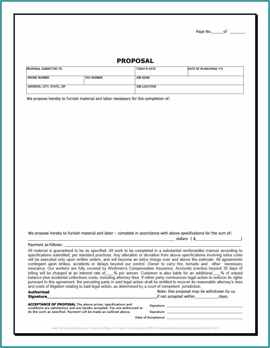 Construction Proposal Template Pdf Free Download