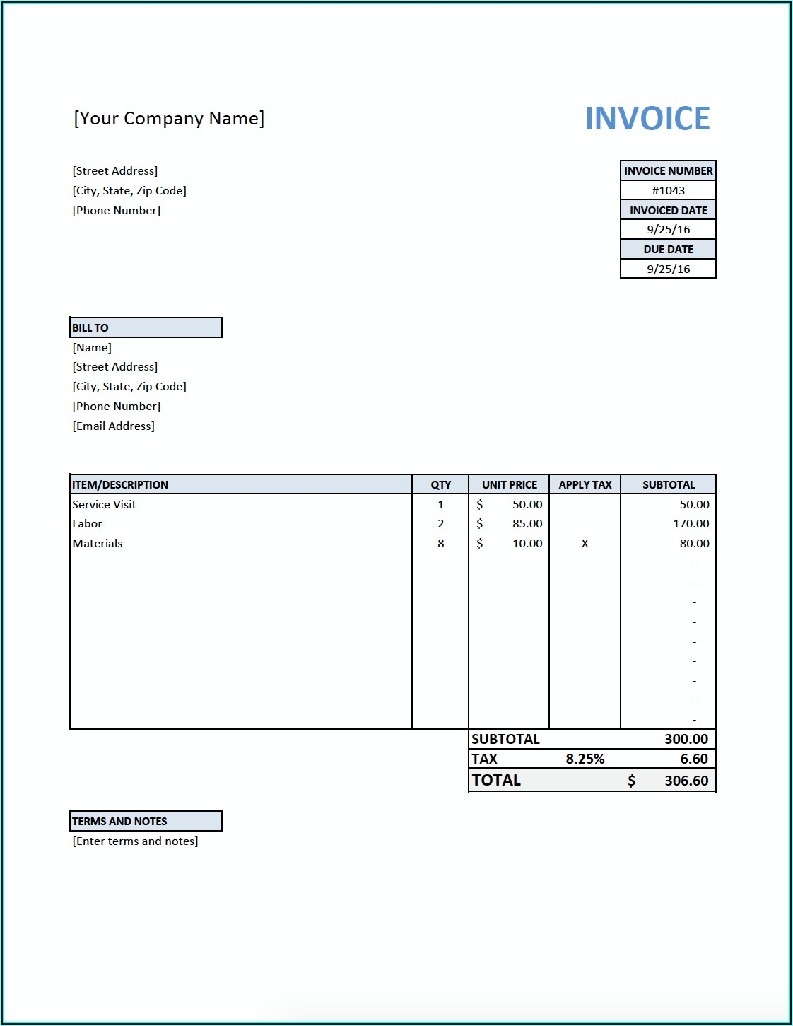 Consulting Invoice Template Australia