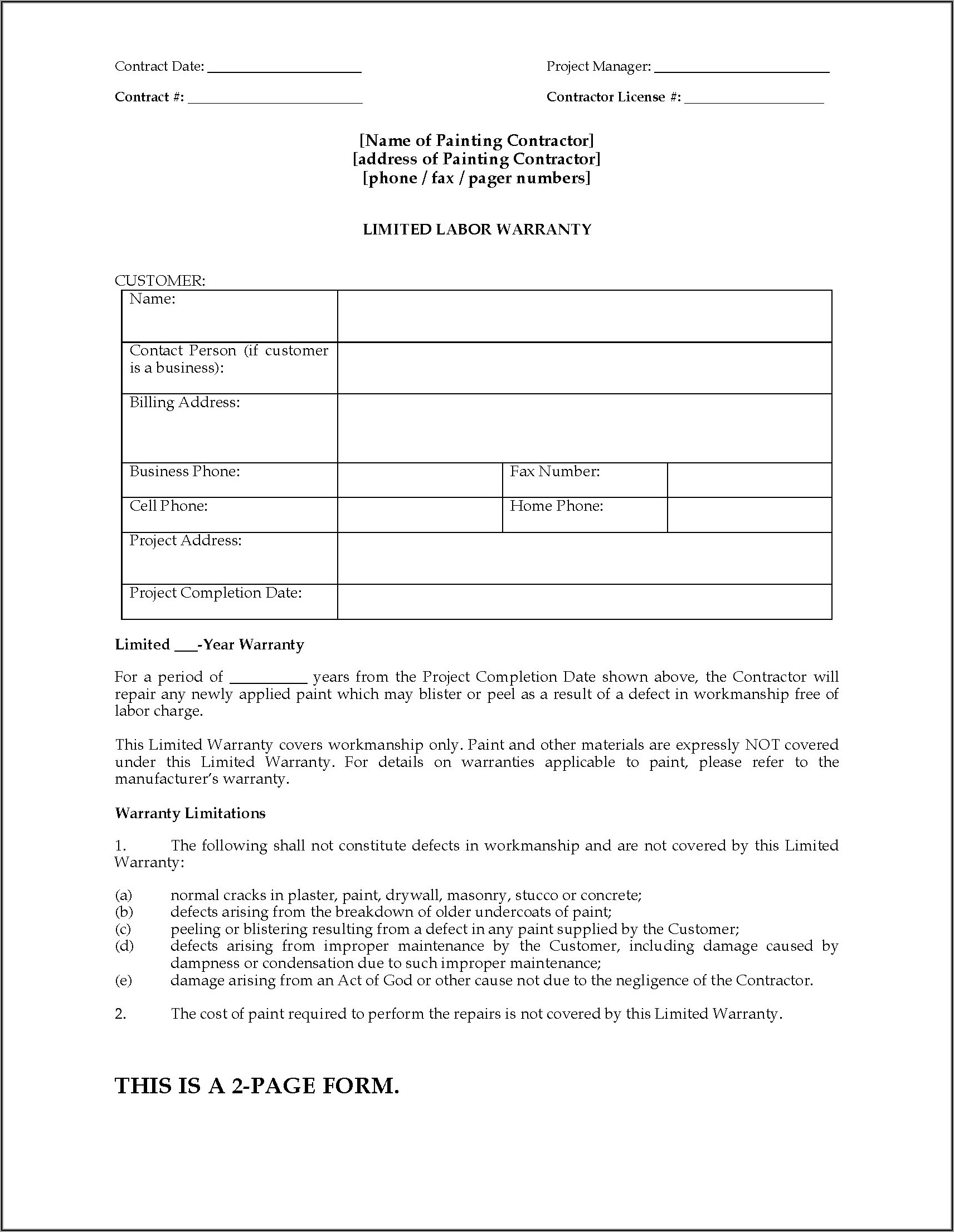 Contractor Contract Template Nz