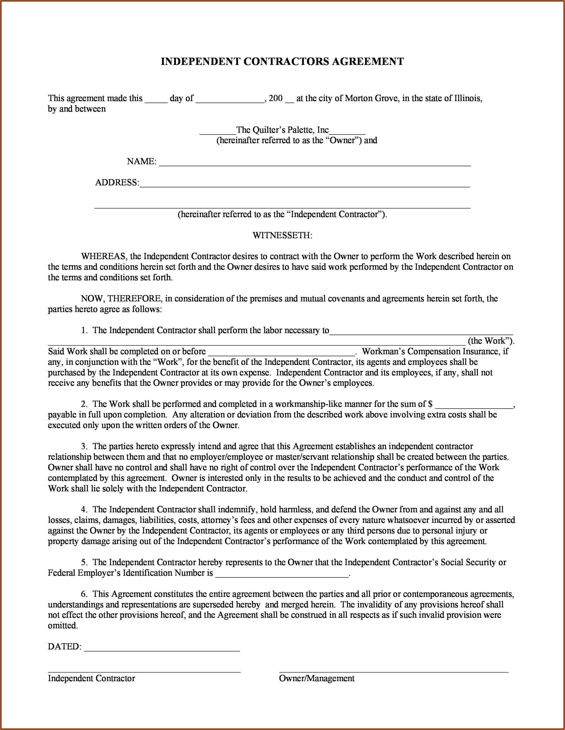 Contractor Template Agreement