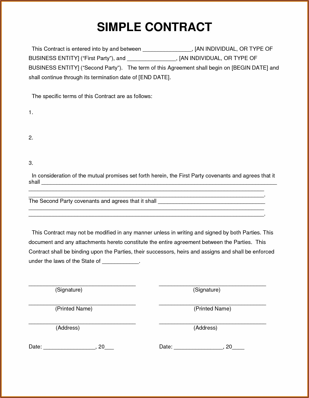 Contractor Template Contract