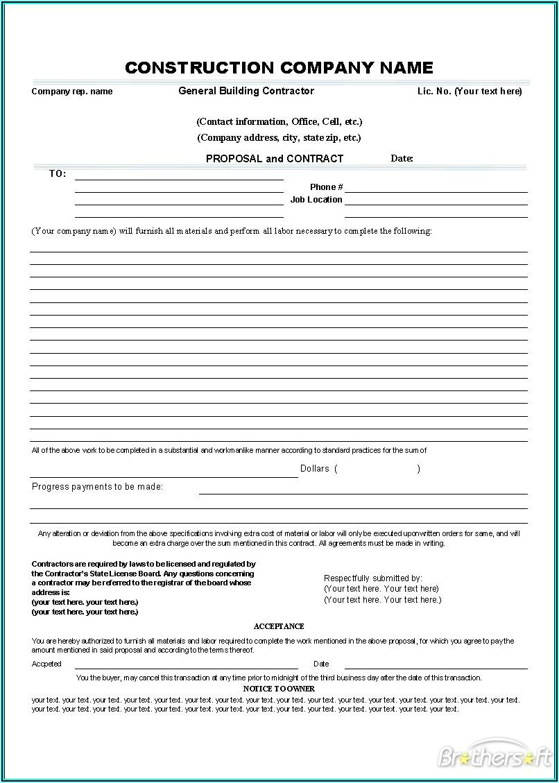 Contractors Invoice Template Free