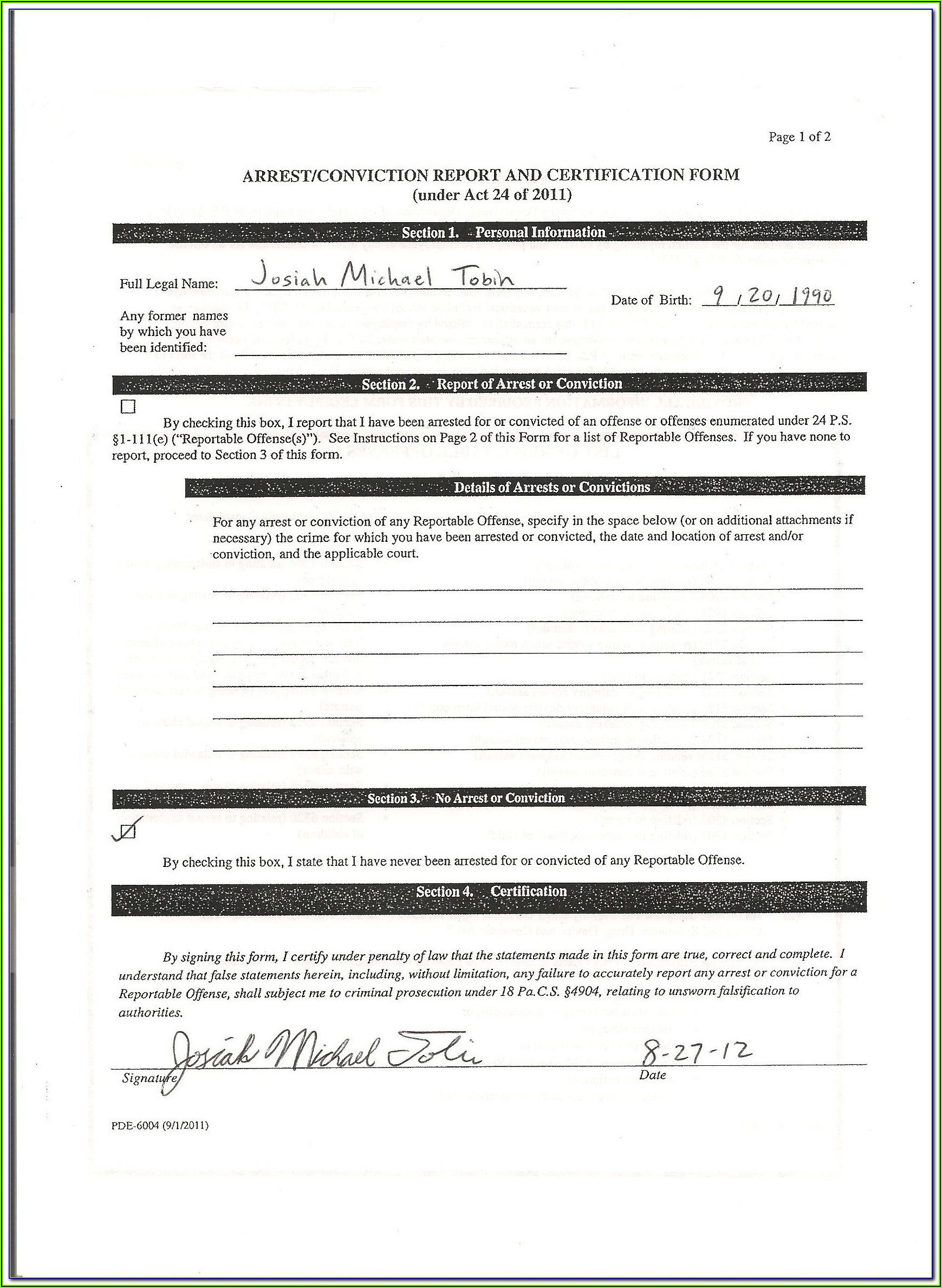 Criminal Background Check Pennsylvania Form