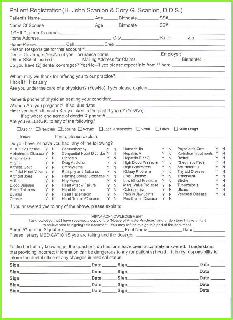 Dental Patient Consent Form Template
