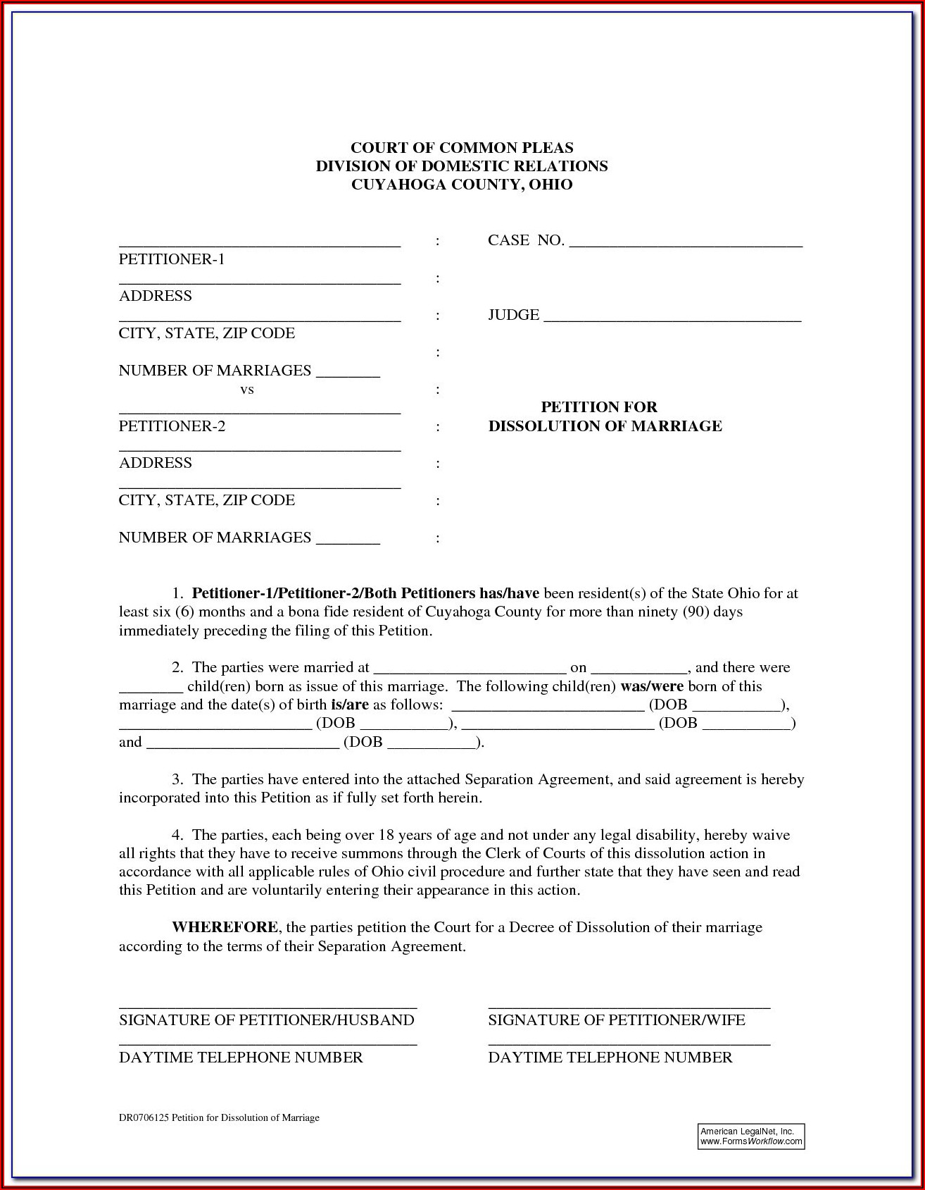 Dissolution Of Marriage Ohio Forms With Child