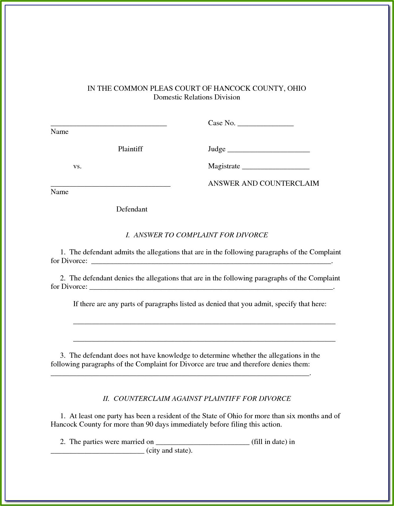 Divorce Paperwork Ohio