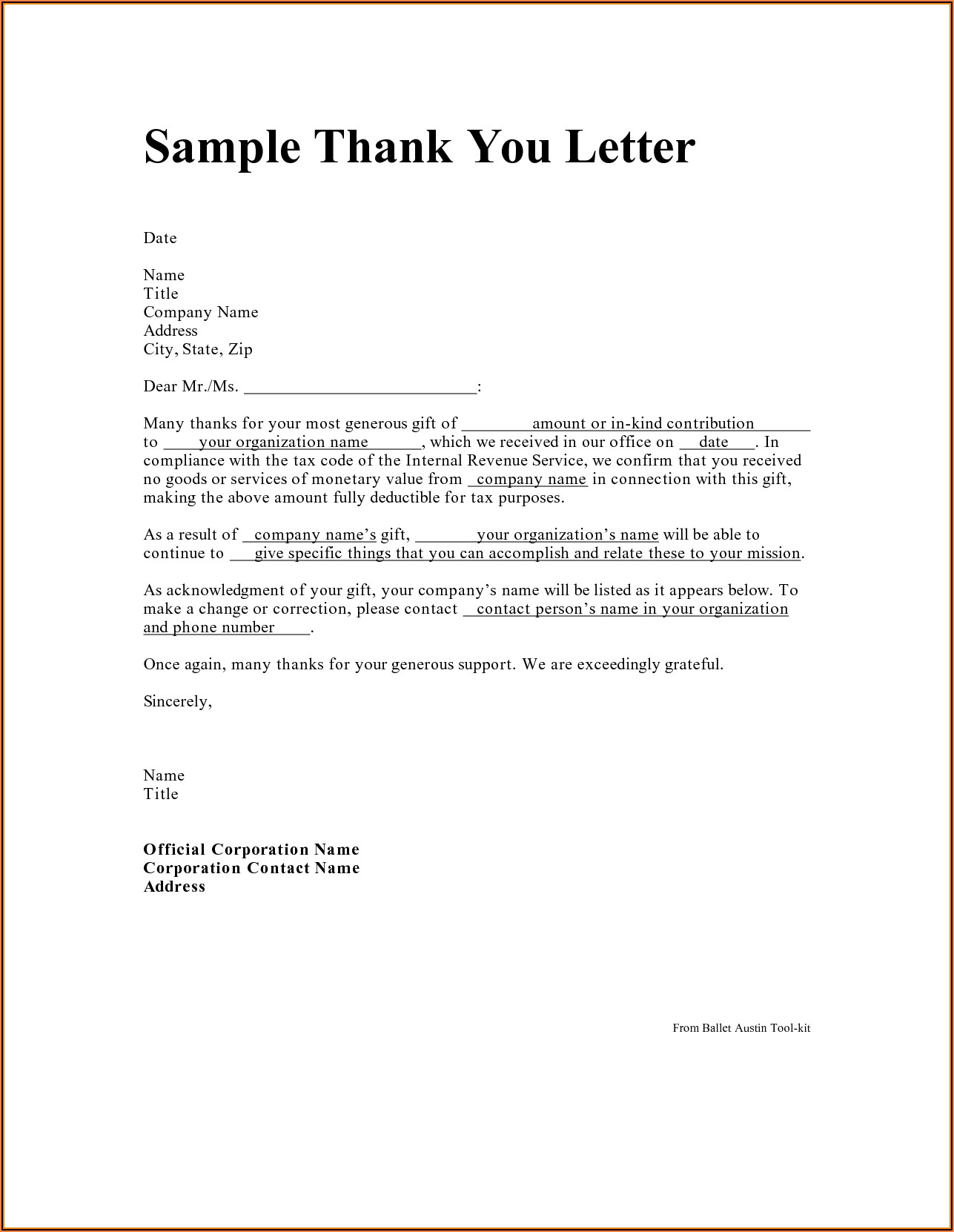 Donation Thank You Letter Template Free