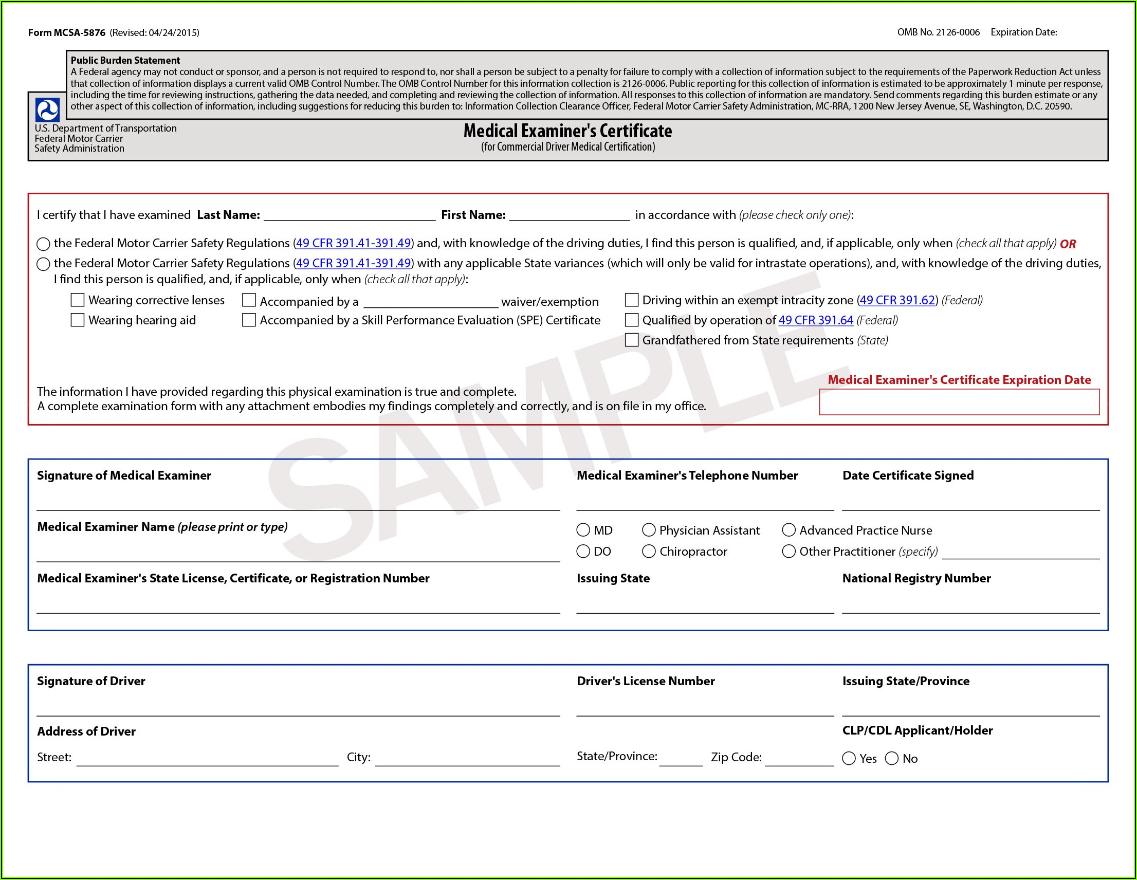 Dot Medical Exam Forms