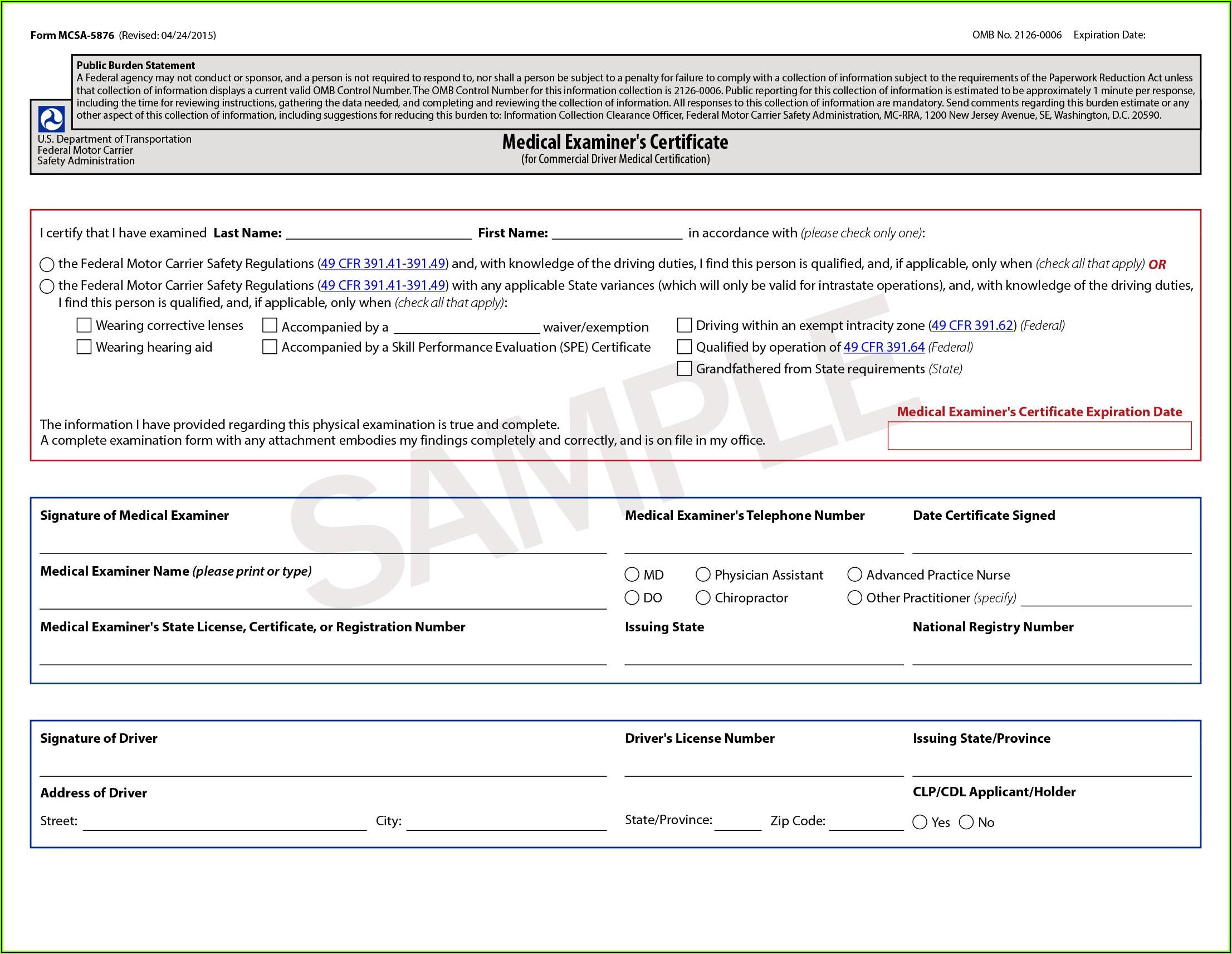 Dot Medical Exam Forms
