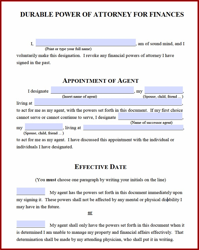 Durable Medical Power Of Attorney Form Michigan