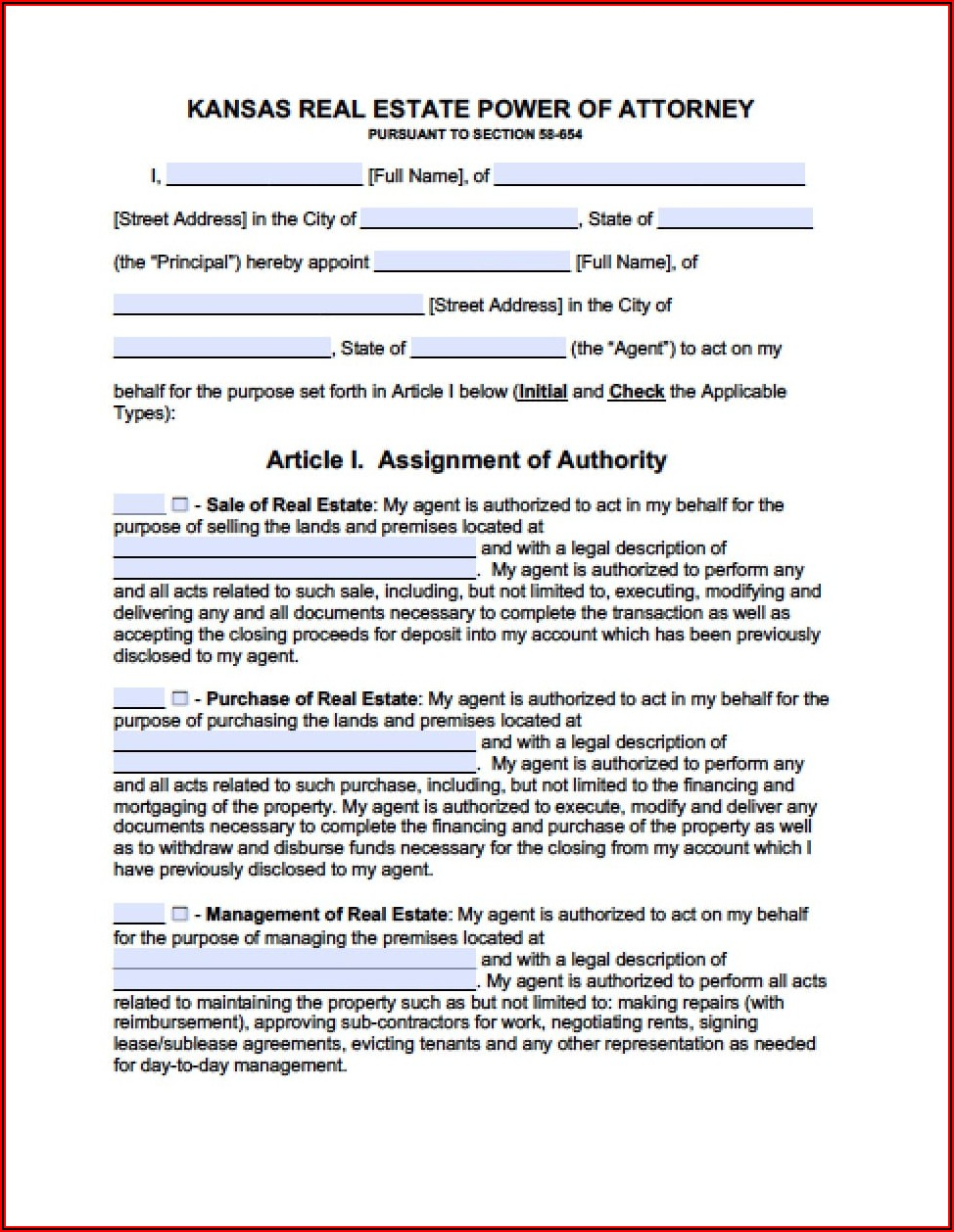 Durable Power Of Attorney For Health Care Form Kansas