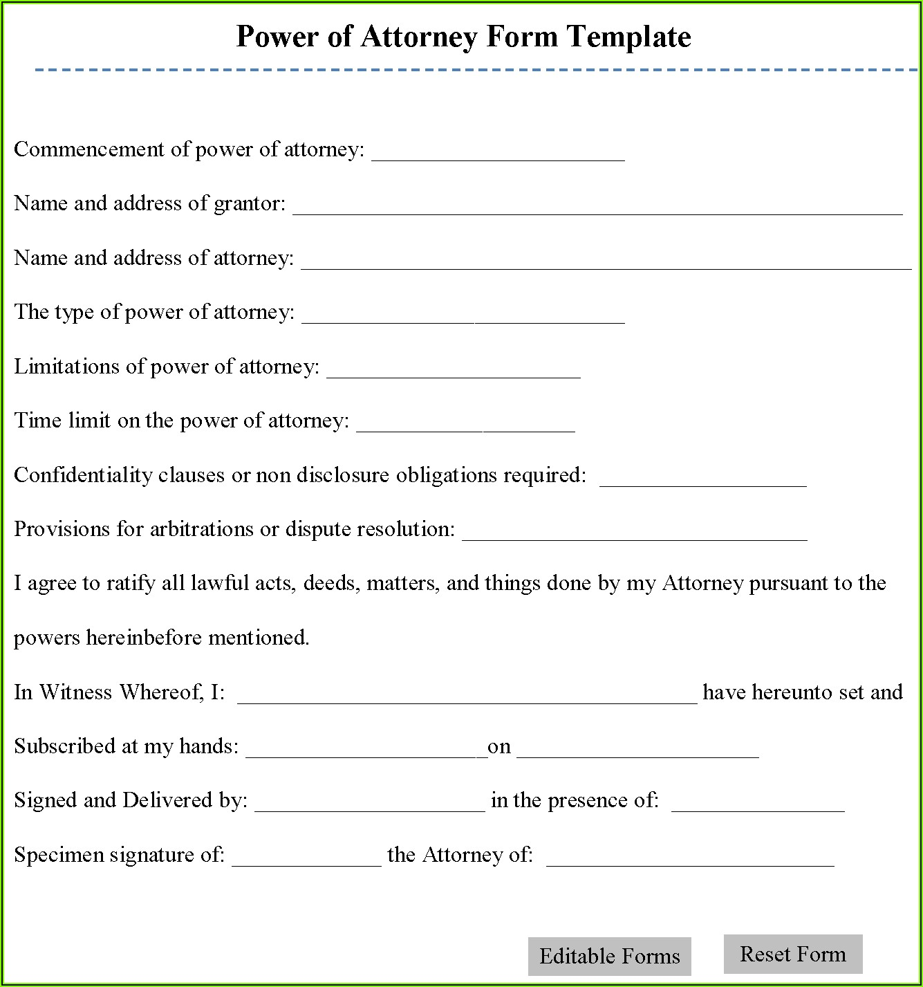 Editable Power Of Attorney Form