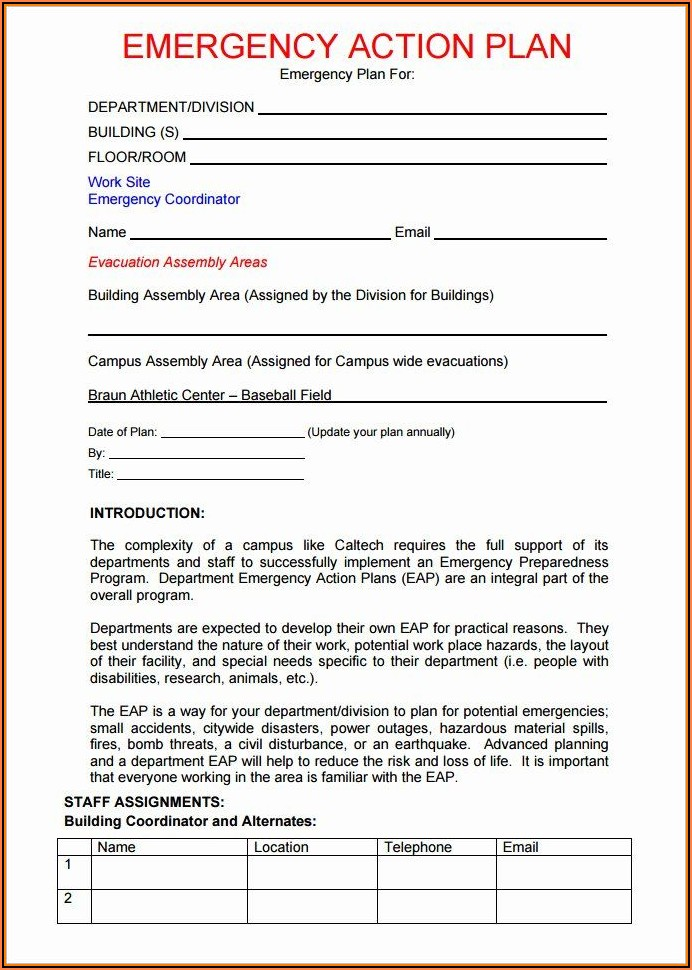 Emergency Action Plan Template For Schools