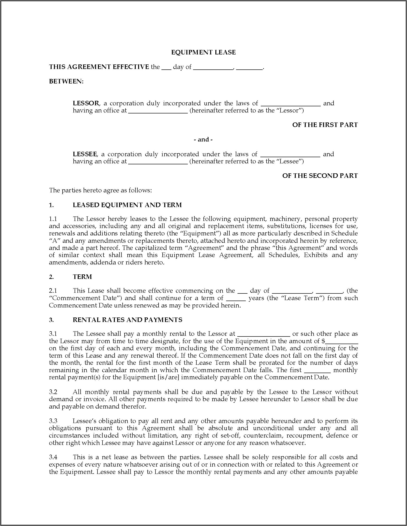 Equipment Lease Agreement Template Canada