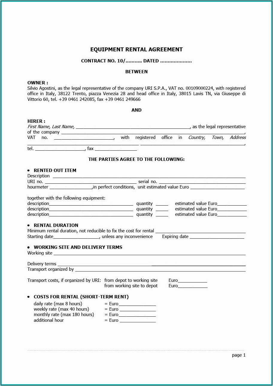 Equipment Rental Agreements Templates Free