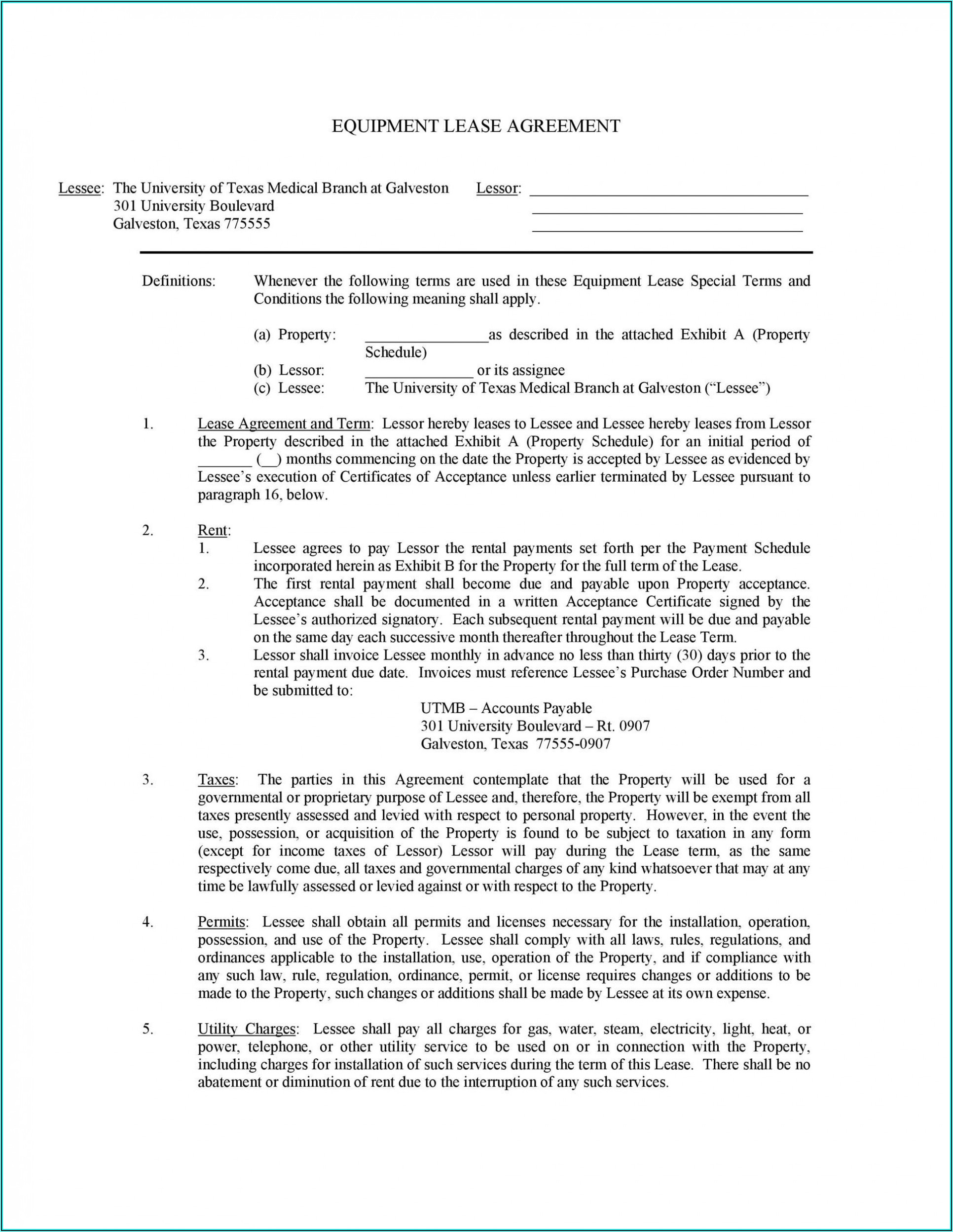 Equipment Rental Contract Example