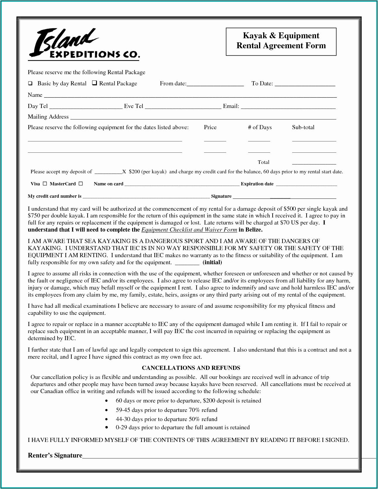 Equipment Rental Contract Template