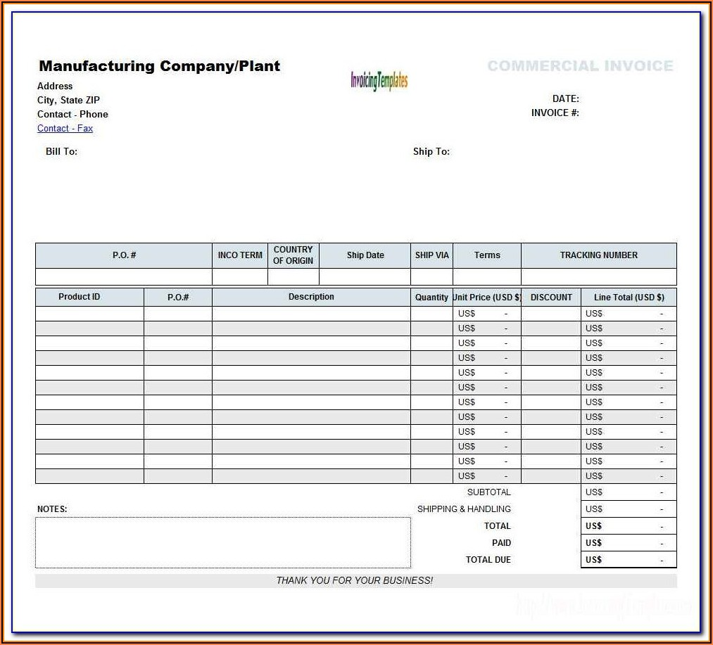 Excel 2007 Invoice Template Free Download