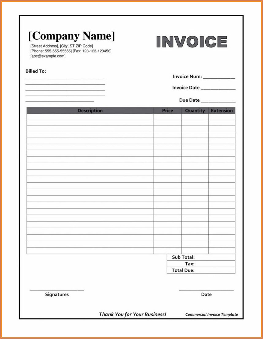 Excel Free Invoice Template