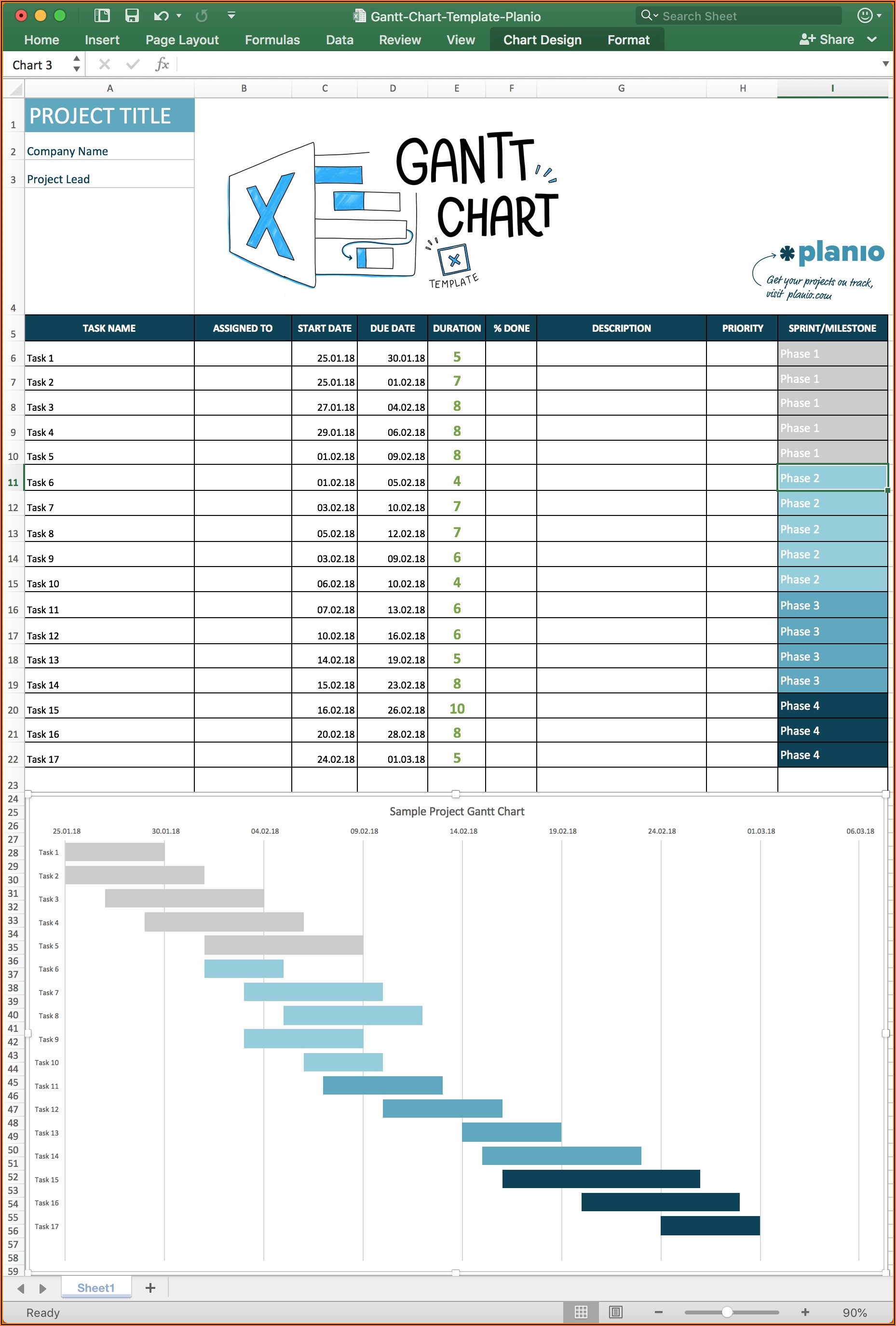 Excel Project Management Gantt Chart Template Free