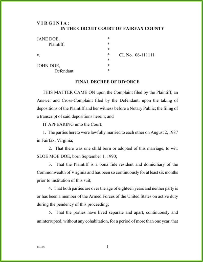 Fairfax County Court Divorce Forms