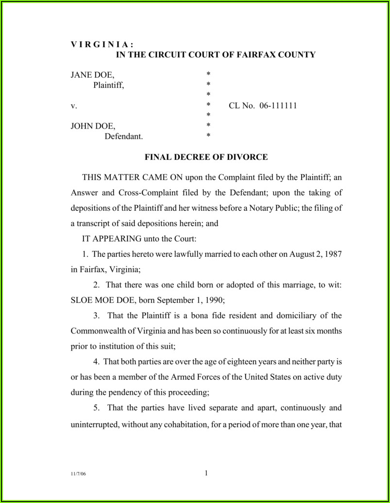 Fairfax County Divorce Forms